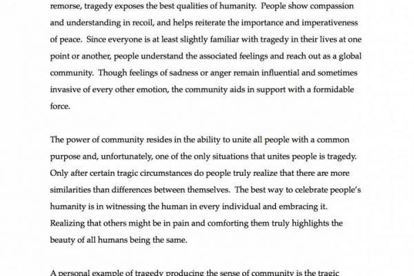 """""""Tragedy Brings Community"""" by Blake Gallardo - Essay Winner (pg. 1)"""