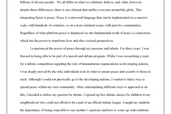 """""""A Spark of Peace"""" by Grace Lim - Essay Winner (pg. 1)"""