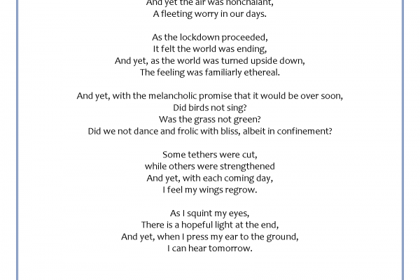 """""""And Yet/I Hear Tomorrow"""" by DongChan Im, Valencia HS"""